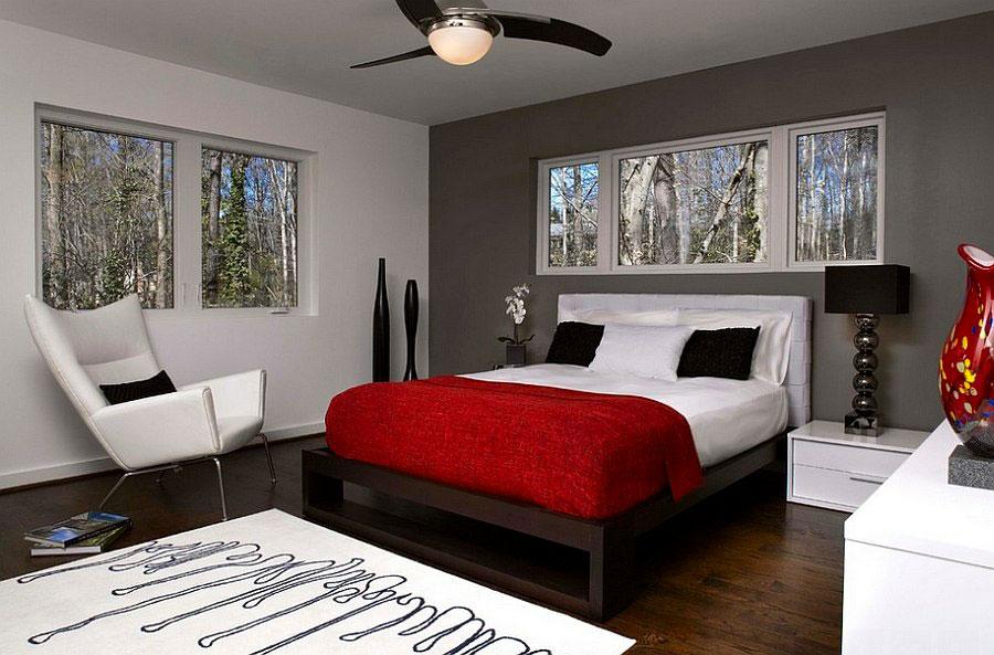 Camera da letto arredata con le tonalità rosso e grigio n.08