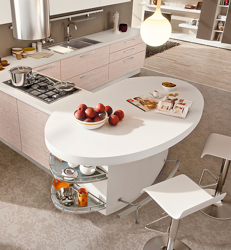 Modello di cucina con angolo snack n.02