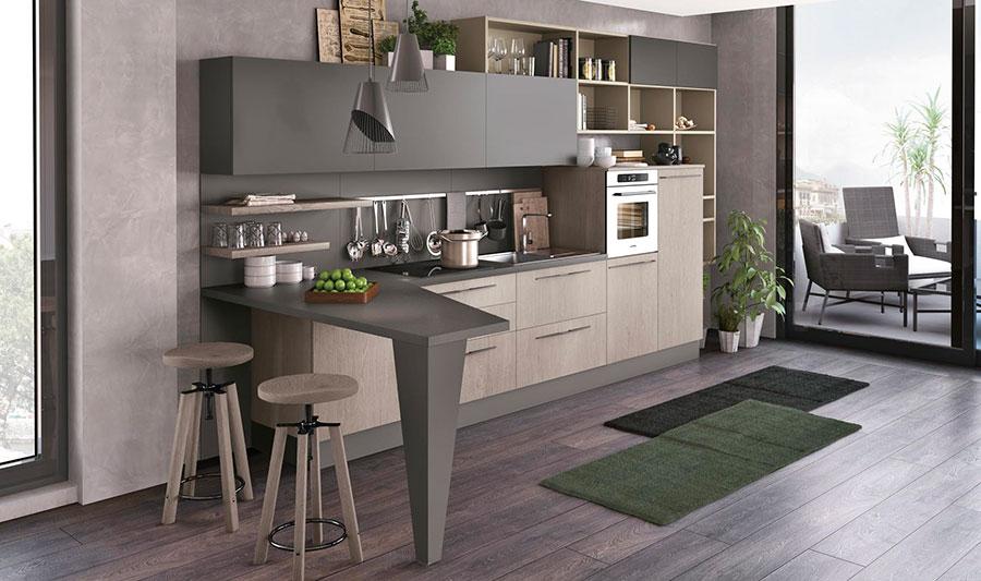 Modello di cucina con angolo snack n.03