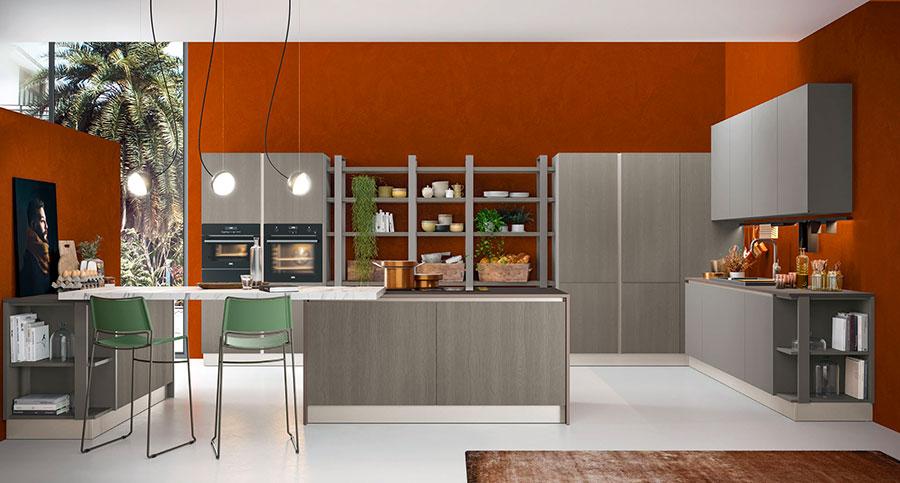 Modello di cucina con bancone snack n.02