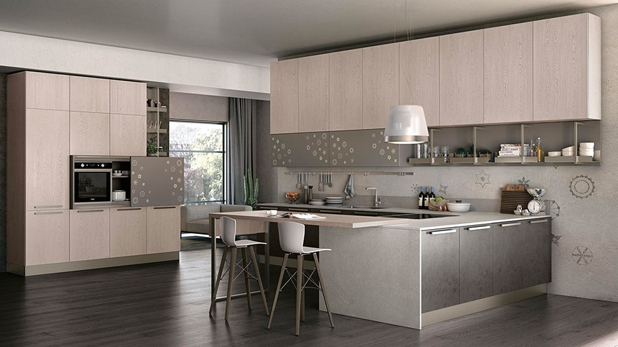 Modello di cucina con piano snack n.04