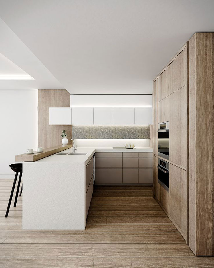 20 magnifici modelli di cucine a u moderne for U shaped kitchen remodel ideas
