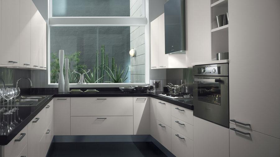 20 magnifici modelli di cucine a u moderne - Cucine moderne con finestra sul lavello ...