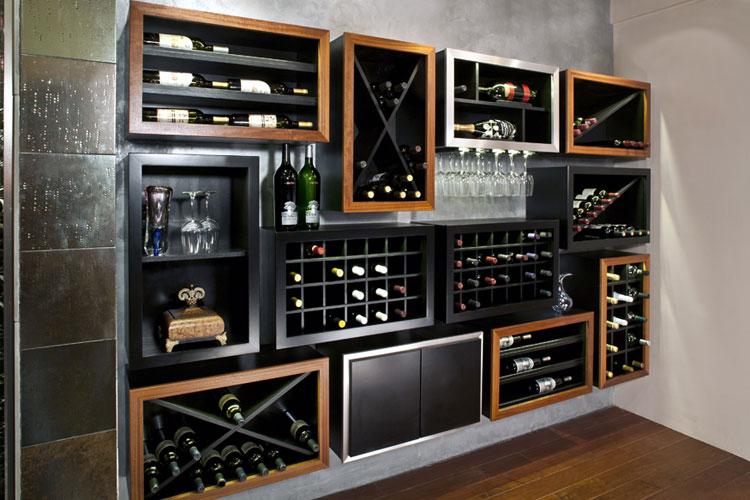 Modello di portabottiglie di vino da parete n.38
