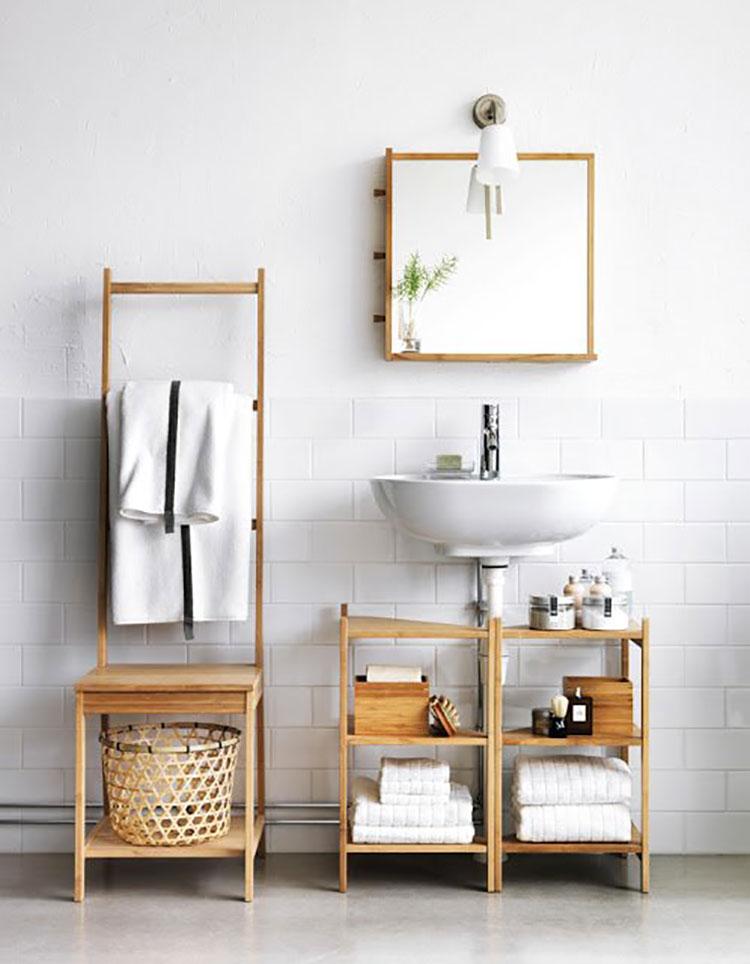 15 idee di design per scaffali e pensili da bagno for Scaffali per ufficio ikea