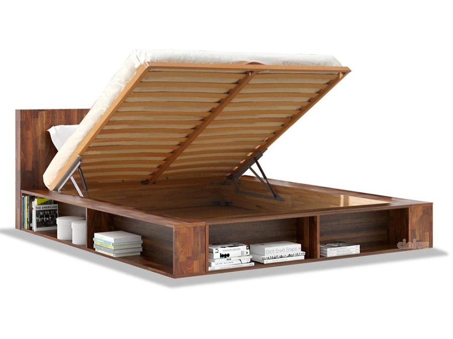 Modello di letto in legno con contenitore n.01