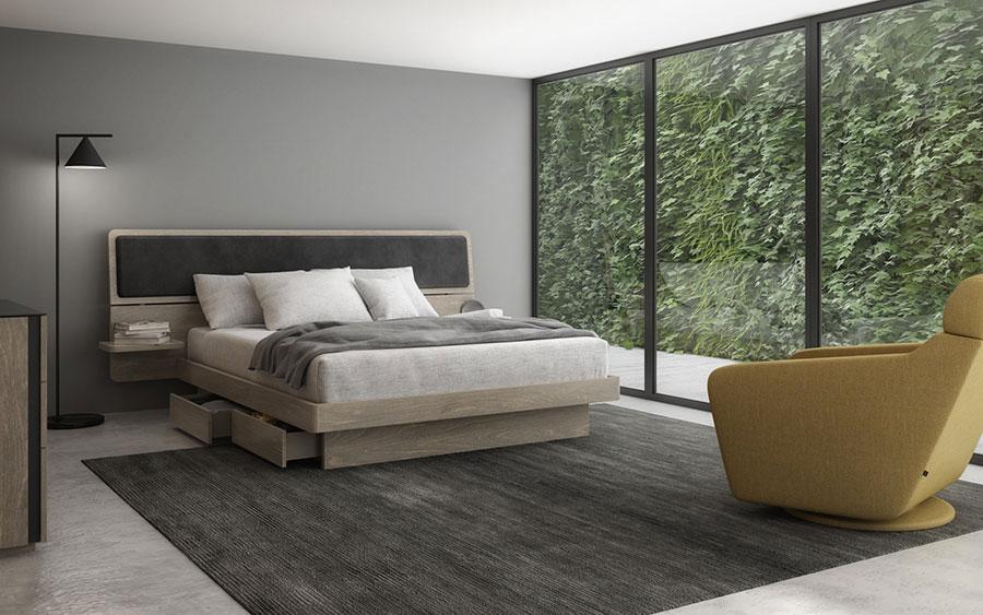 Modello di letto in legno con contenitore n.03
