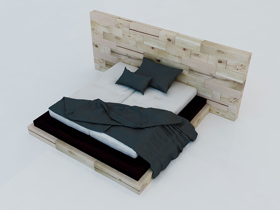 Modello di letto in legno moderno n.01