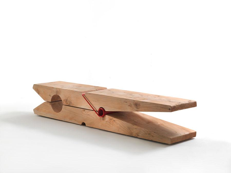 Modello di panca in legno per ingresso Baldessari e Baldessari