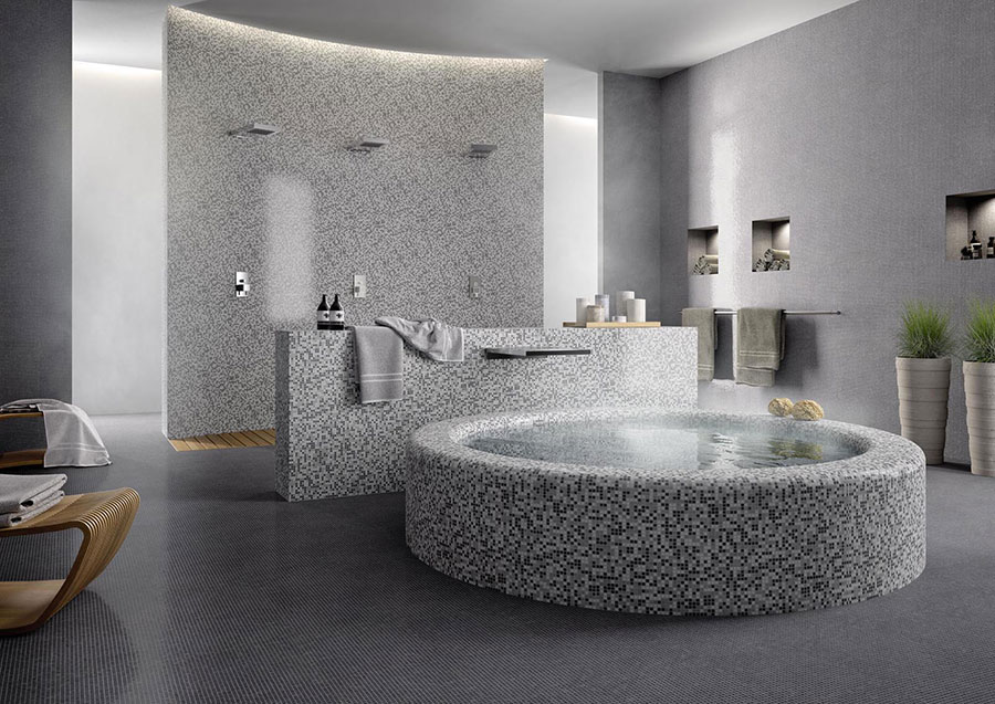 Piastrelle a mosaico per il bagno eccone 20 bellissimi esempi - Marazzi piastrelle bagno ...