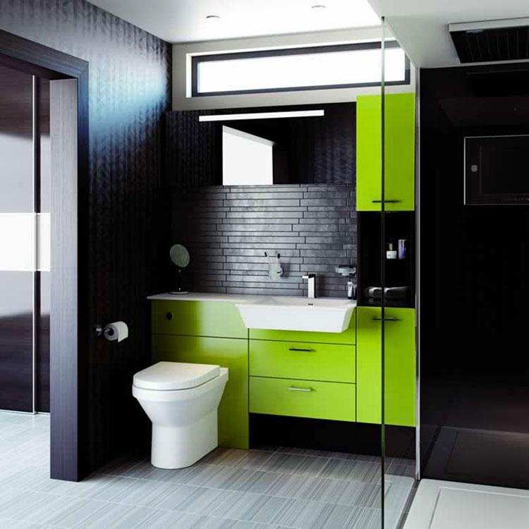 Come arredare un bagno con il verde lime n.04