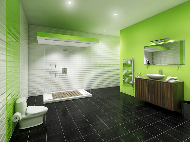 Come arredare un bagno con il verde lime n.05