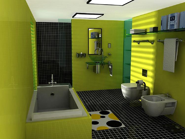 Come arredare un bagno con il verde lime n.07