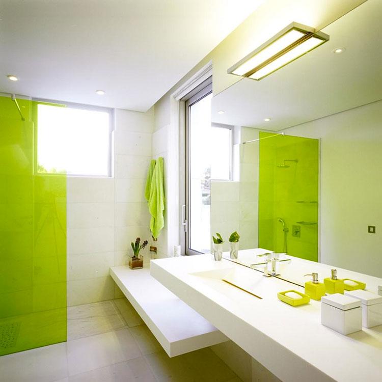 Come arredare un bagno con il verde lime n.09