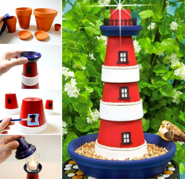 Faro con vasi di terracotta e candele