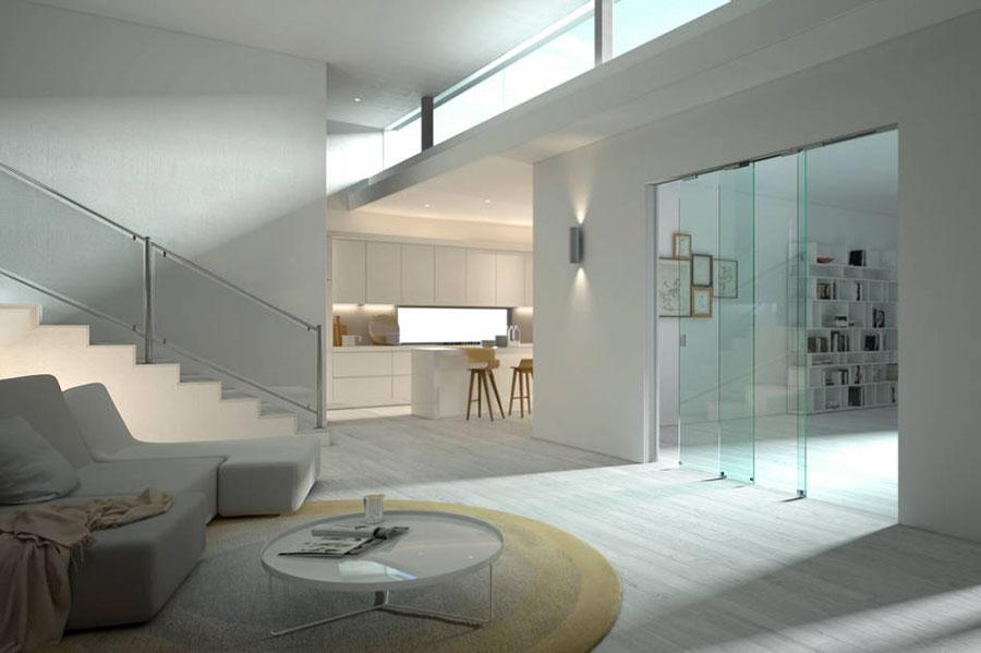 Porte scorrevoli in vetro per interni dal design moderno for Design moderno interni