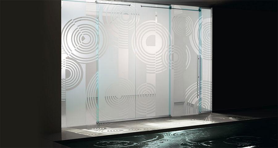 Porta scorrevole in vetro per interni n.06