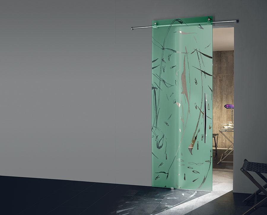 Porta scorrevole in vetro per interni n.11
