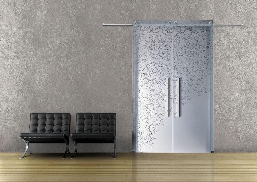 Porta scorrevole in vetro per interni n.14