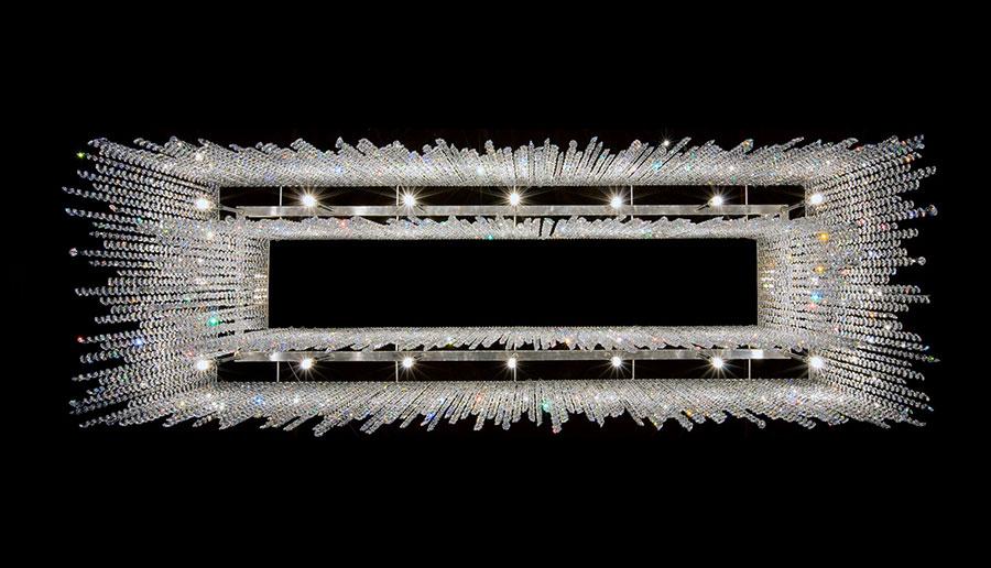 Lampadario in cristallo Monooi modello Linea n.03