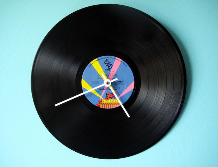 Orologio da parete con disco in vinile