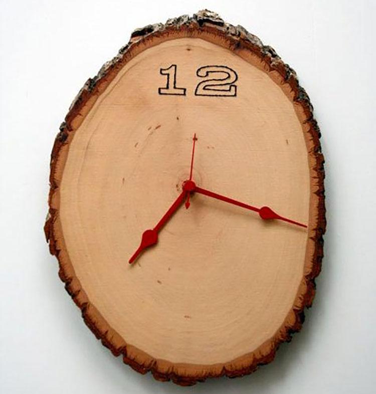 Orologio da parete in legno naturale