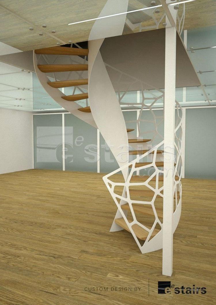 Modello di scala a chiocciola con struttura in legno n.03