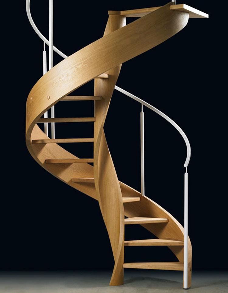 Modello di scala a chiocciola con struttura in legno n.08