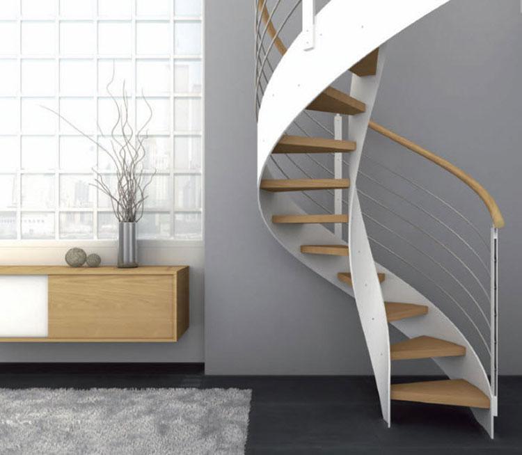 Modello di scala a chiocciola con struttura in legno n.09