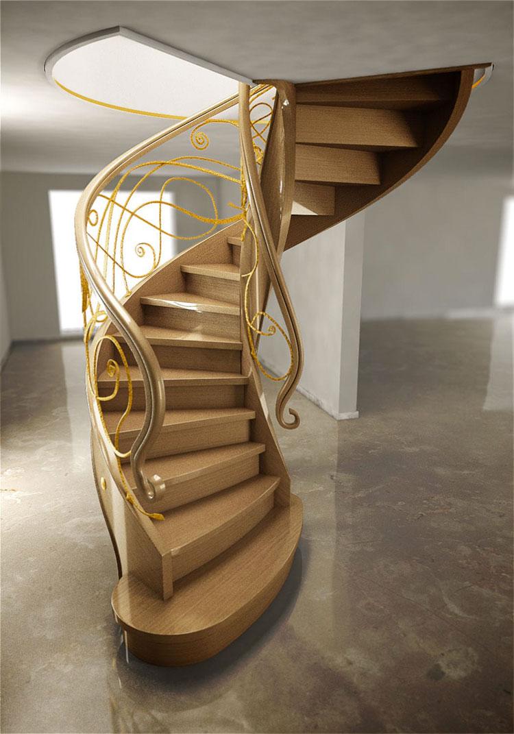 Modello di scala a chiocciola con struttura in legno n.19