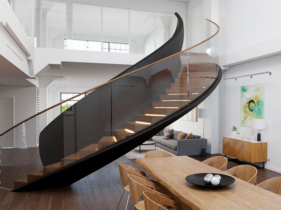 Modello di scala a chiocciola in legno per interni n.21