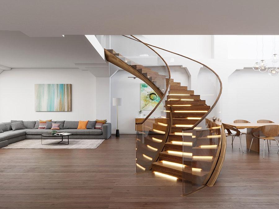 Modello di scala a chiocciola in legno per interni n.22
