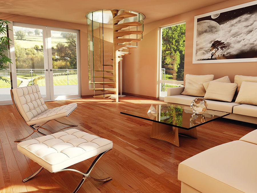 Modello di scala a chiocciola in legno per interni n.25