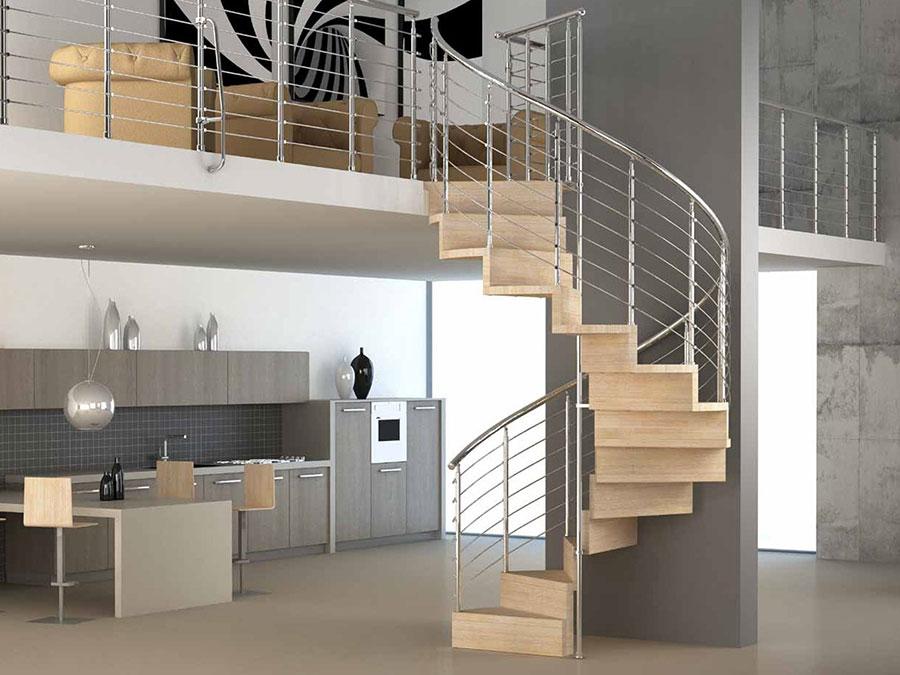 Modello di scala a chiocciola in legno per interni n.29