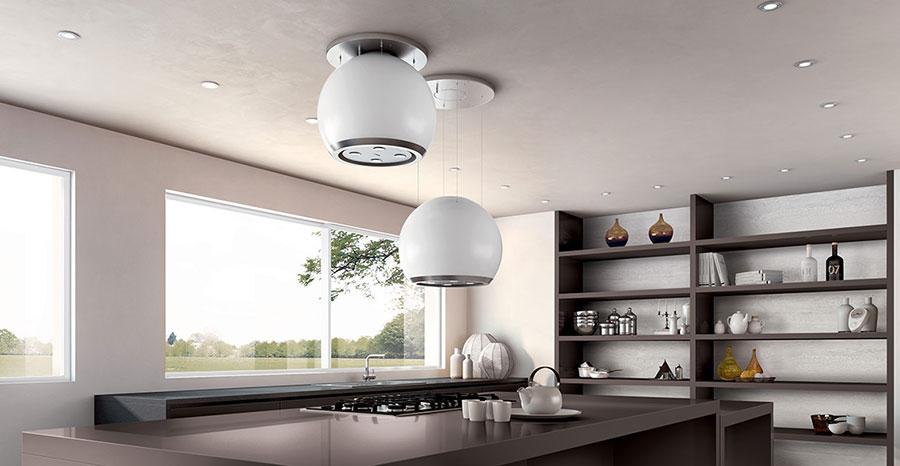 Cappe per cucine con isola dal design originale - Motore cappa aspirante cucina ...