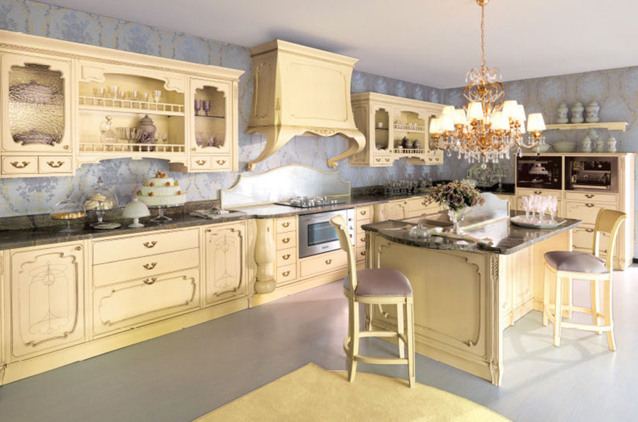 Modello di cucina provenzale in legno n.08