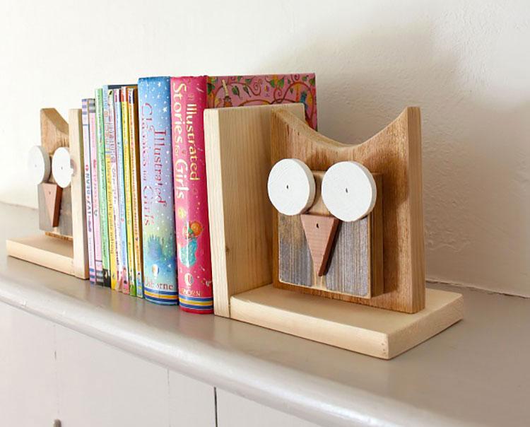 20 idee per fermalibri fai da te originali e creativi for Dischi di legno