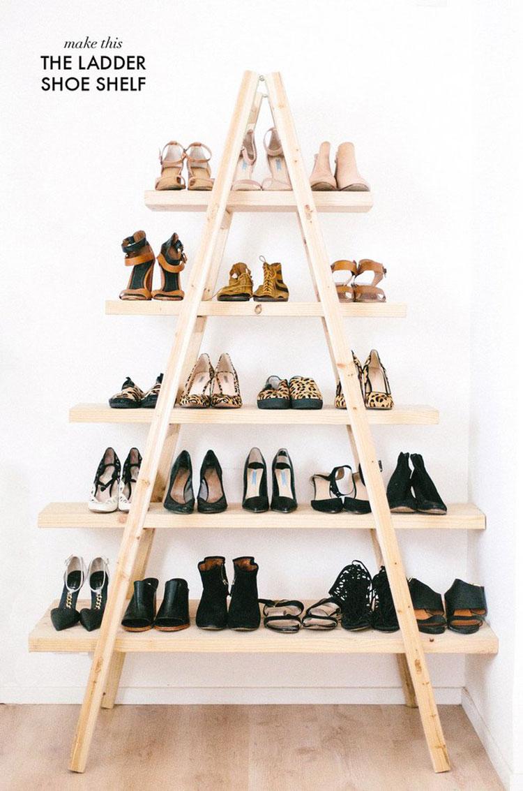 Idee per riciclare vecchie scale per creare appendiabiti e scarpiere n.04