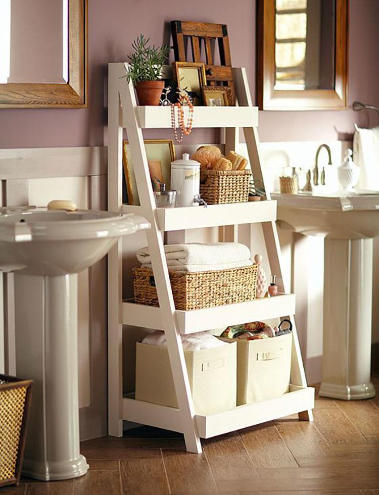 Come creare mobili bagno riciclando vecchie scale n.02