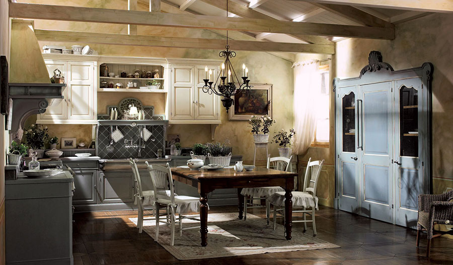 Cucina country chic in stile romantico n.11