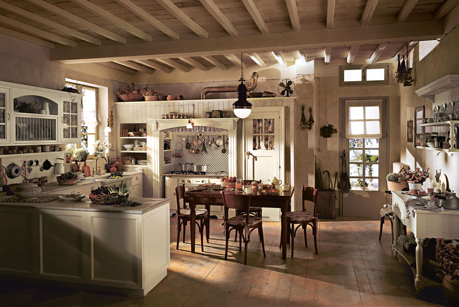 Cucina country chic in stile romantico n.12
