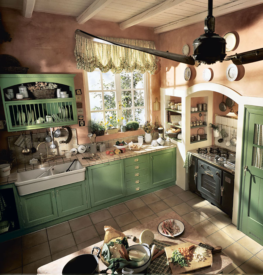 Cucina country chic in stile romantico n.14