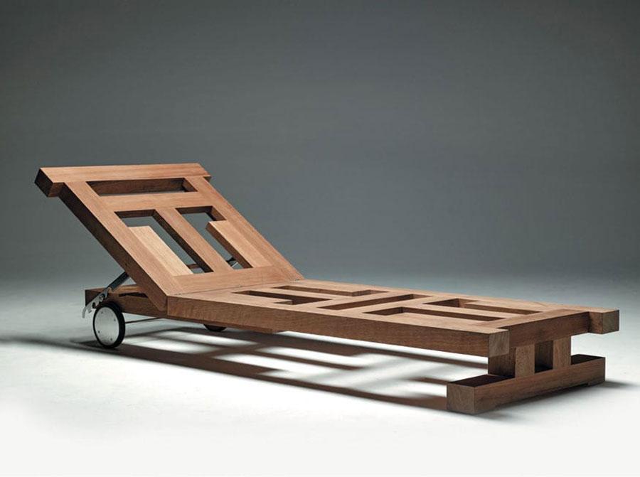 Modello di lettino da giardino dal design particolare n.01