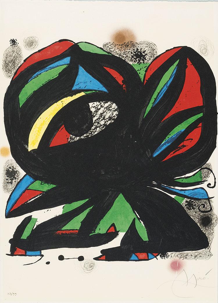 Litografia a colori di Juan Miro del 1975