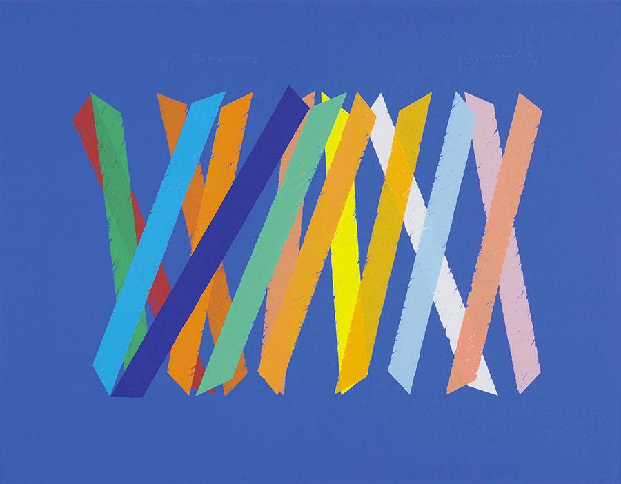 Composizione serigrafia a colori di Piero Dorazio