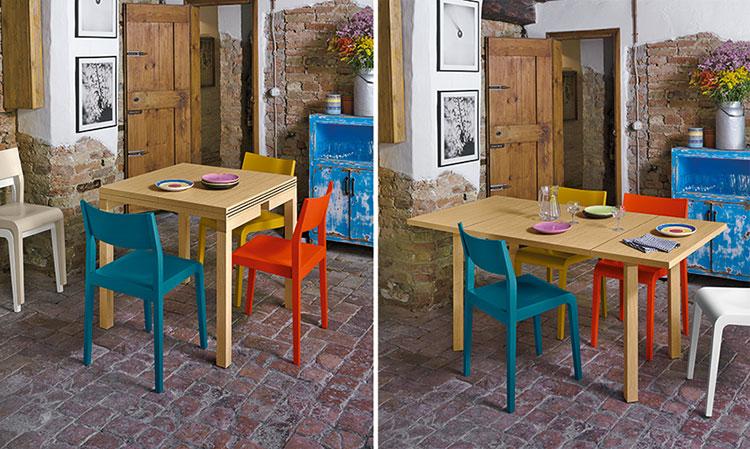 Modello di tavolo quadrato allungabile n.06