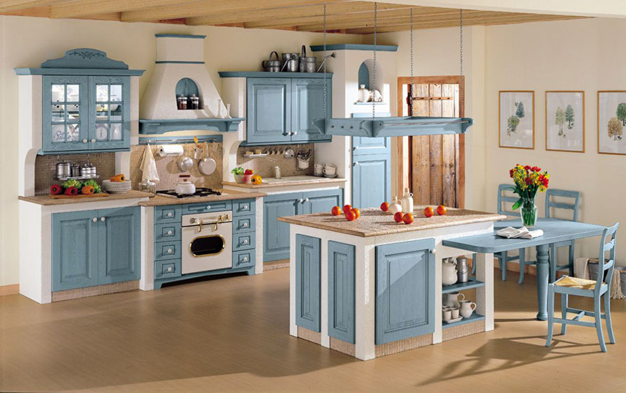 20 cucine in muratura in stile country for Cucine componibili colorate