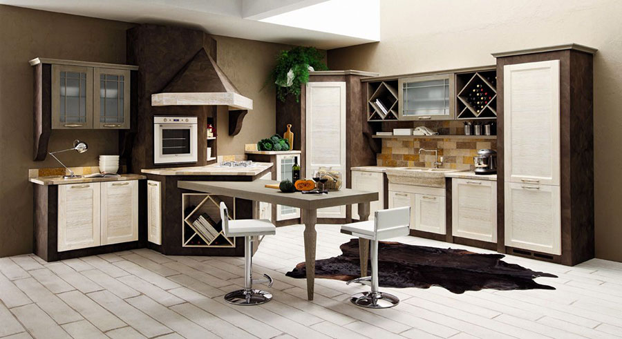 Modello di cucina in muratura in stile country n.09