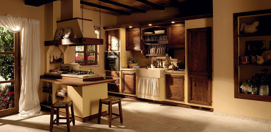 20 cucine in muratura in stile country - Cucina country chic ...