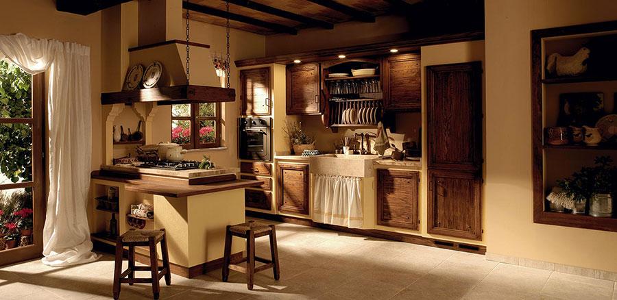Cucina in muratura rustica con tendine n.04